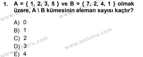 Lojistik Bölümü 1. Yarıyıl Matematik I Dersi 2014 Yılı Güz Dönemi Tek Ders Sınavı 1. Soru