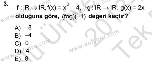 Lojistik Bölümü 1. Yarıyıl Matematik I Dersi 2014 Yılı Güz Dönemi Tek Ders Sınavı 3. Soru
