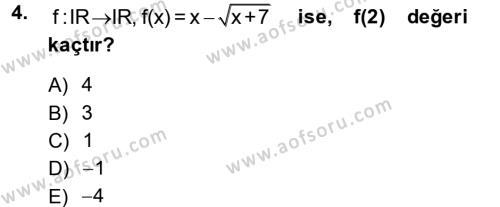 Lojistik Bölümü 1. Yarıyıl Matematik I Dersi 2014 Yılı Güz Dönemi Tek Ders Sınavı 4. Soru