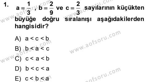 Matematik 1 Dersi 2014 - 2015 Yılı Ara Sınavı 1. Soru