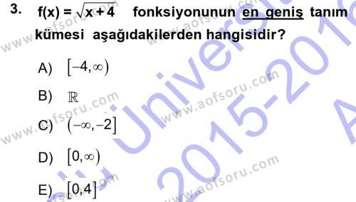 Matematik 1 Dersi 2015 - 2016 Yılı Ara Sınavı 3. Soru