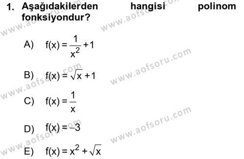 Matematik 1 Dersi 2015 - 2016 Yılı Dönem Sonu Sınavı 1. Soru