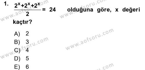Lojistik Bölümü 1. Yarıyıl Matematik I Dersi 2017 Yılı Güz Dönemi Dönem Sonu Sınavı 1. Soru