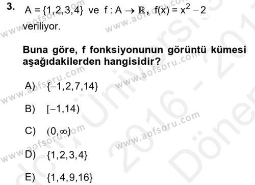 Matematik 1 Dersi 2016 - 2017 Yılı (Final) Dönem Sonu Sınav Soruları 3. Soru