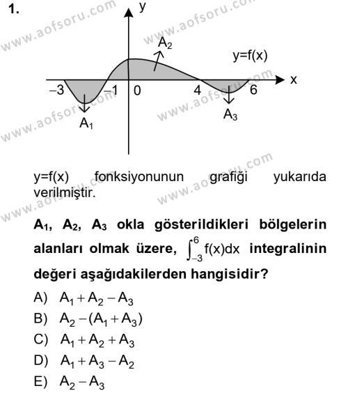 Konaklama İşletmeciliği Bölümü 2. Yarıyıl Matematik II Dersi 2013 Yılı Bahar Dönemi Ara Sınavı 1. Soru