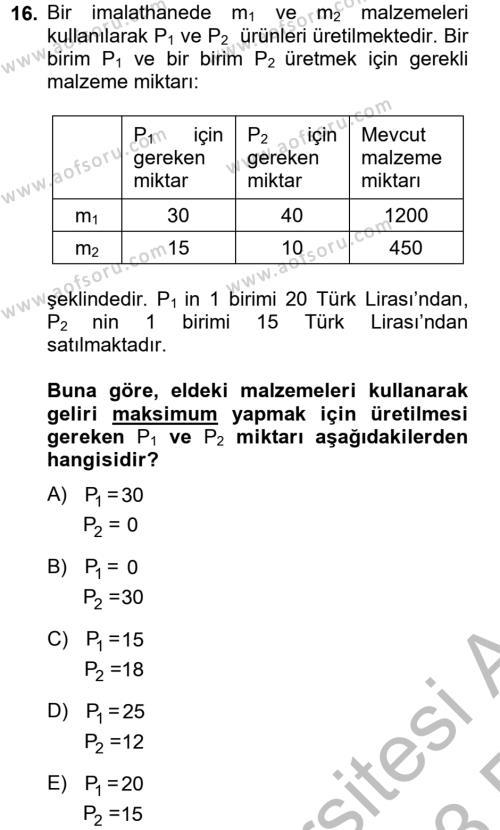 Matematik 2 Dersi Ara Sınavı Deneme Sınav Soruları 16. Soru