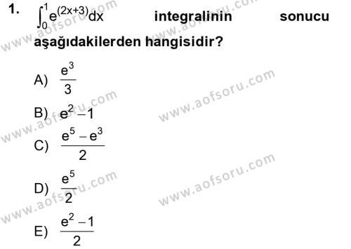İşletme Bölümü 2. Yarıyıl Matematik II Dersi 2013 Yılı Bahar Dönemi Dönem Sonu Sınavı 1. Soru