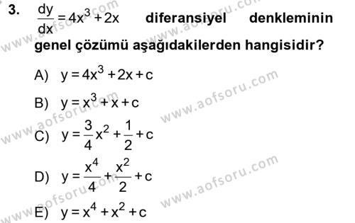 Elektrik Enerjisi Üretim, İletim ve Dağıtımı Bölümü 2. Yarıyıl Matematik II Dersi 2013 Yılı Bahar Dönemi Dönem Sonu Sınavı 3. Soru