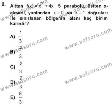 İktisat Bölümü 2. Yarıyıl Matematik II Dersi 2013 Yılı Bahar Dönemi Tek Ders Sınavı 2. Soru