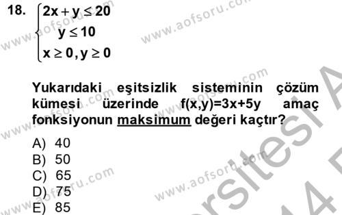 Matematik 2 Dersi Ara Sınavı Deneme Sınav Soruları 18. Soru