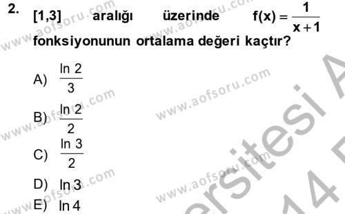 Konaklama İşletmeciliği Bölümü 2. Yarıyıl Matematik II Dersi 2014 Yılı Bahar Dönemi Ara Sınavı 2. Soru