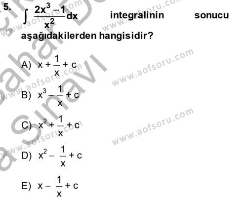 Konaklama İşletmeciliği Bölümü 2. Yarıyıl Matematik II Dersi 2014 Yılı Bahar Dönemi Ara Sınavı 5. Soru