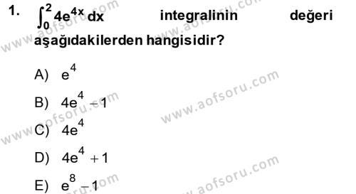Konaklama İşletmeciliği Bölümü 2. Yarıyıl Matematik II Dersi 2014 Yılı Bahar Dönemi Dönem Sonu Sınavı 1. Soru