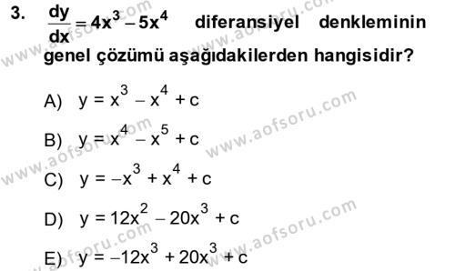 Konaklama İşletmeciliği Bölümü 2. Yarıyıl Matematik II Dersi 2014 Yılı Bahar Dönemi Dönem Sonu Sınavı 3. Soru