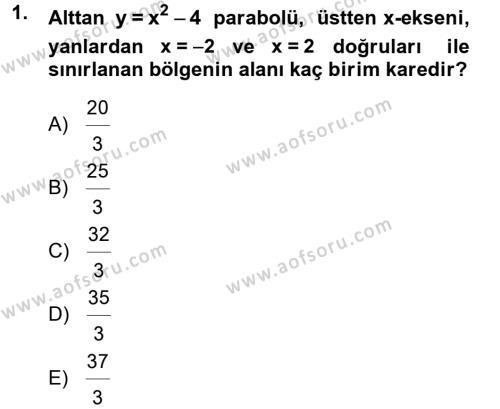 Matematik 2 Dersi 2013 - 2014 Yılı Tek Ders Sınavı 1. Soru