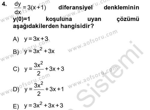 Matematik 2 Dersi 2013 - 2014 Yılı Tek Ders Sınavı 4. Soru