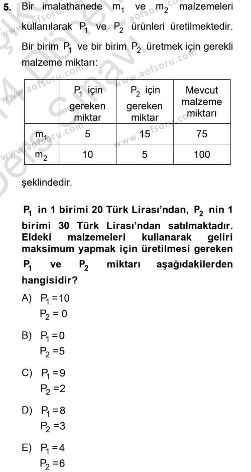 Elektrik Enerjisi Üretim, İletim ve Dağıtımı Bölümü 2. Yarıyıl Matematik II Dersi 2014 Yılı Bahar Dönemi Tek Ders Sınavı 5. Soru