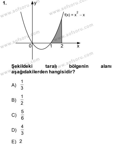 Matematik 2 Dersi 2014 - 2015 Yılı Ara Sınavı 1. Soru