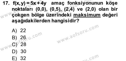 Matematik 2 Dersi Ara Sınavı Deneme Sınav Soruları 17. Soru