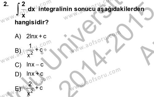Matematik 2 Dersi Ara Sınavı Deneme Sınav Soruları 2. Soru