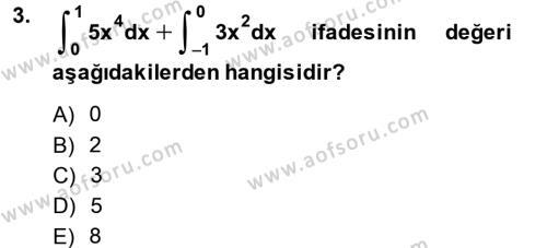 Matematik 2 Dersi 2014 - 2015 Yılı Ara Sınavı 3. Soru