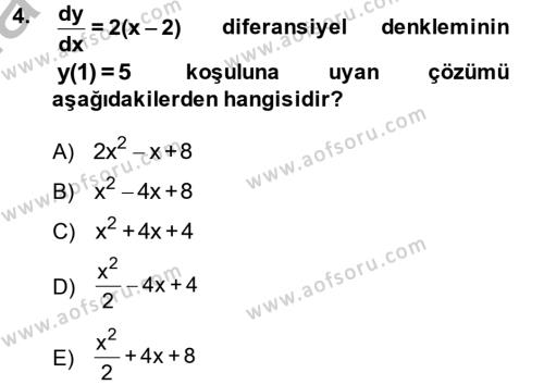 Matematik 2 Dersi 2014 - 2015 Yılı (Final) Dönem Sonu Sınav Soruları 4. Soru