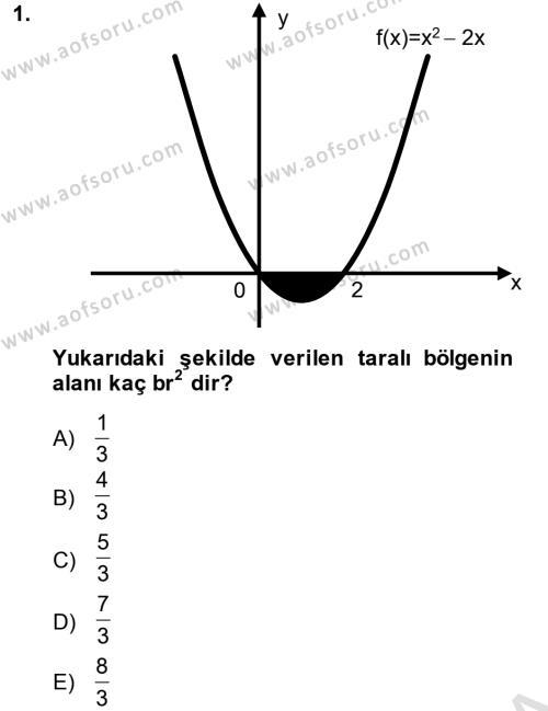 Matematik 2 Dersi 2014 - 2015 Yılı Tek Ders Sınav Soruları 1. Soru