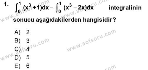 Matematik 2 Dersi 2015 - 2016 Yılı Ara Sınavı 1. Soru