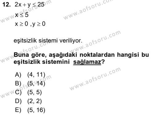 Matematik 2 Dersi Ara Sınavı Deneme Sınav Soruları 12. Soru
