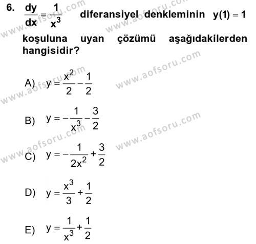 Matematik 2 Dersi Ara Sınavı Deneme Sınav Soruları 6. Soru