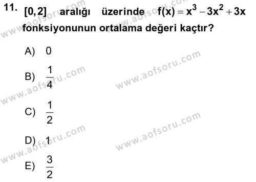 Matematik 2 Dersi Ara Sınavı Deneme Sınav Soruları 11. Soru