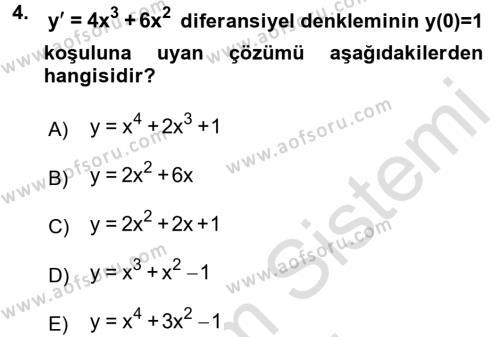 Matematik 2 Dersi 2016 - 2017 Yılı (Final) Dönem Sonu Sınav Soruları 4. Soru