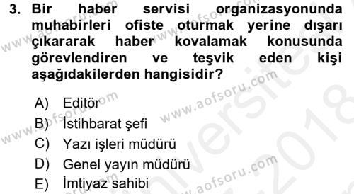Haber Toplama Teknikleri Dersi 2017 - 2018 Yılı (Final) Dönem Sonu Sınav Soruları 3. Soru
