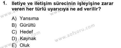 Medya ve İletişim Bölümü 1. Yarıyıl Medya ve İletişim Dersi 2013 Yılı Güz Dönemi Ara Sınavı 1. Soru