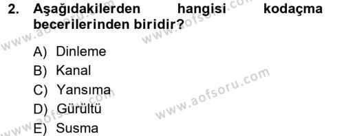 Medya ve İletişim Bölümü 1. Yarıyıl Medya ve İletişim Dersi 2013 Yılı Güz Dönemi Ara Sınavı 2. Soru