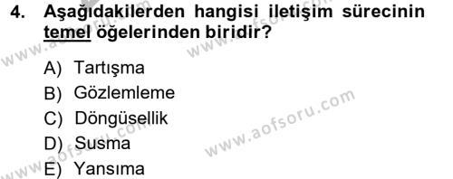 Medya ve İletişim Bölümü 1. Yarıyıl Medya ve İletişim Dersi 2013 Yılı Güz Dönemi Ara Sınavı 4. Soru