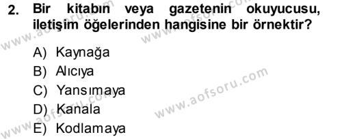 Medya ve İletişim Bölümü 1. Yarıyıl Medya ve İletişim Dersi 2014 Yılı Güz Dönemi Ara Sınavı 2. Soru