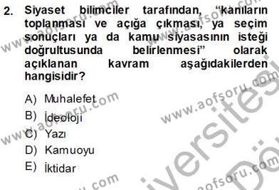 Halkla İlişkiler ve Reklamcılık Bölümü 1. Yarıyıl Siyasal İletişim Dersi 2014 Yılı Güz Dönemi Ara Sınavı 2. Soru