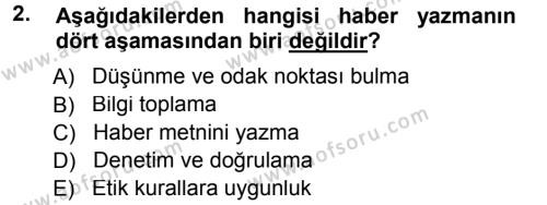 Haber Yazma Teknikleri Dersi 2012 - 2013 Yılı Dönem Sonu Sınavı 2. Soru
