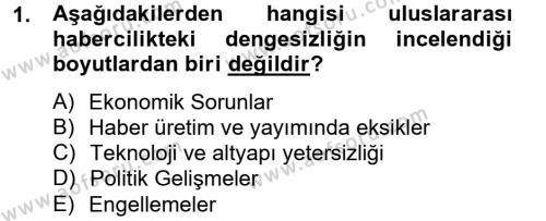 Medya ve İletişim Bölümü 4. Yarıyıl Haber Türleri Dersi 2013 Yılı Bahar Dönemi Ara Sınavı 1. Soru