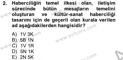 Medya ve İletişim Bölümü 4. Yarıyıl Haber Türleri Dersi 2013 Yılı Bahar Dönemi Dönem Sonu Sınavı 2. Soru