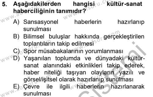 Medya ve İletişim Bölümü 4. Yarıyıl Haber Türleri Dersi 2013 Yılı Bahar Dönemi Dönem Sonu Sınavı 5. Soru
