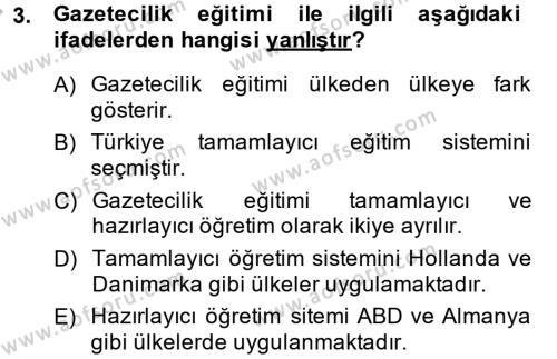 Medya ve İletişim Bölümü 4. Yarıyıl Haber Türleri Dersi 2015 Yılı Bahar Dönemi Ara Sınavı 3. Soru