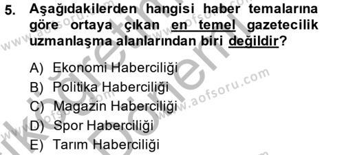 Medya ve İletişim Bölümü 4. Yarıyıl Haber Türleri Dersi 2015 Yılı Bahar Dönemi Ara Sınavı 5. Soru
