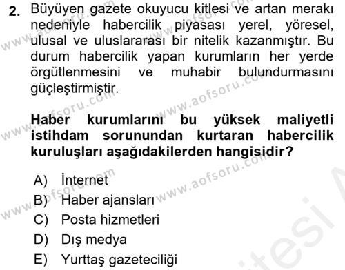 Haber Türleri Dersi 2015 - 2016 Yılı (Vize) Ara Sınav Soruları 2. Soru