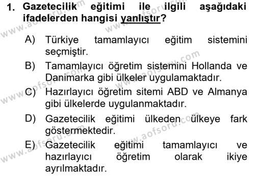 Haber Türleri Dersi 2017 - 2018 Yılı (Vize) Ara Sınav Soruları 1. Soru