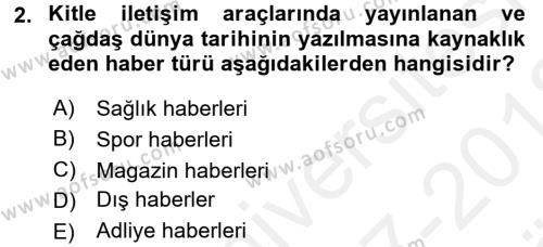 Haber Türleri Dersi 2017 - 2018 Yılı (Vize) Ara Sınav Soruları 2. Soru