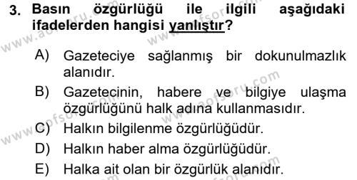 Haber Türleri Dersi 2017 - 2018 Yılı (Vize) Ara Sınav Soruları 3. Soru