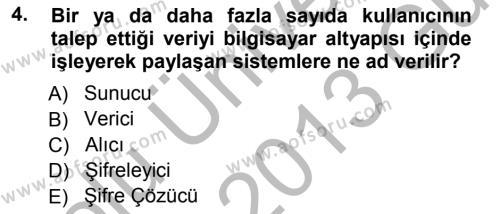 Medya ve İletişim Bölümü 3. Yarıyıl İnternet Yayıncılığı Dersi 2013 Yılı Güz Dönemi Ara Sınavı 4. Soru