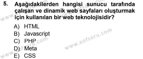 Medya ve İletişim Bölümü 3. Yarıyıl İnternet Yayıncılığı Dersi 2013 Yılı Güz Dönemi Dönem Sonu Sınavı 5. Soru